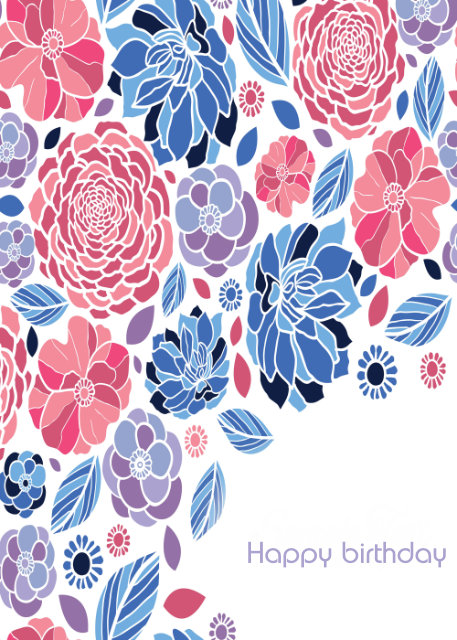 Pink and blue flowers