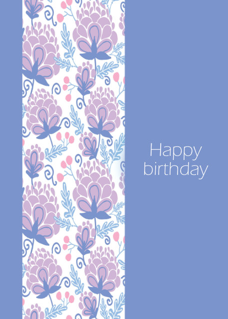 Floral border on lilac background