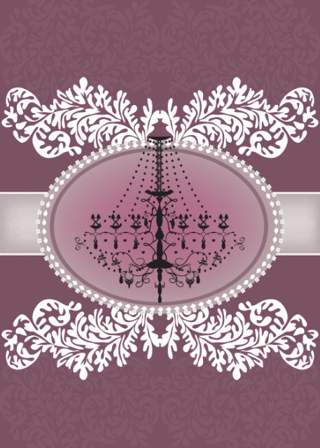 Ornate chandelier with pink background