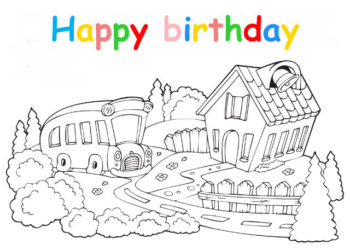 Colouring in card with cottage and bus