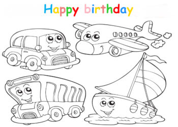 Colouring in card with car plane bus and boat