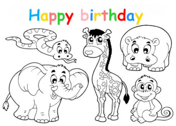 Colouring in card with jungle animals