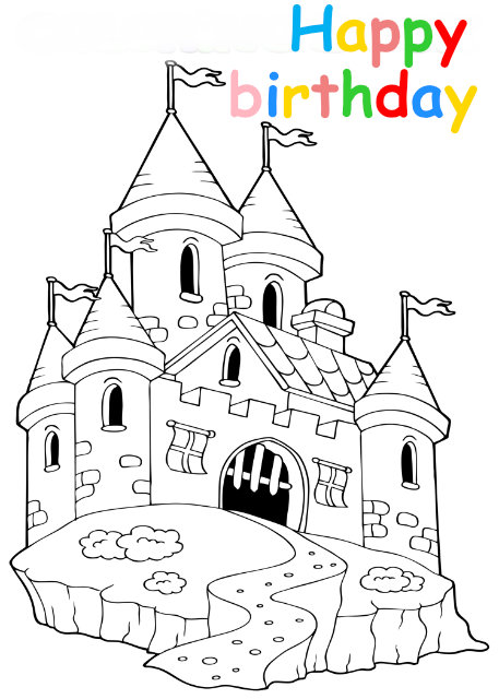 Colouring in card with castle