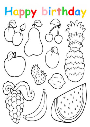 Colouring in card with fruit