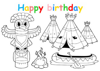 Colouring in card with wigwams