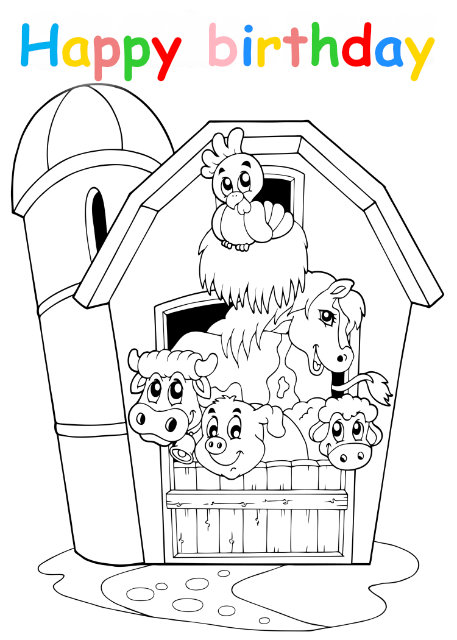 Colouring in card with farm animals