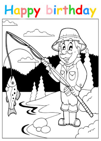Colouring in card with fisherman