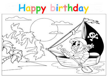 Colouring in card with pirate in a rowing boat