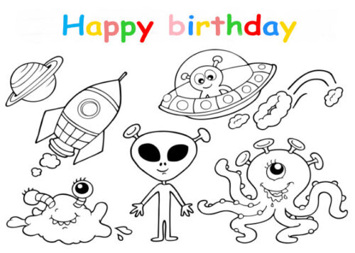 Colouring in card with space rockets and aliens