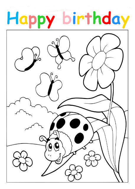 Colouring in card with ladybird and butterflies