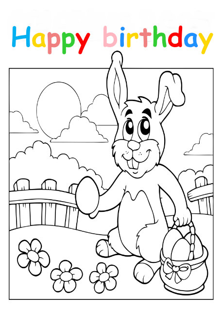 Colouring in card with Easter bunny