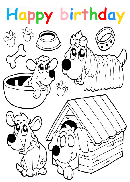 Colouring in card with cute dogs