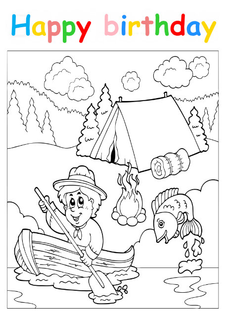 Colouring in card with scout in boat