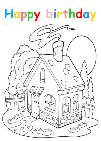 Colouring in card with cottage