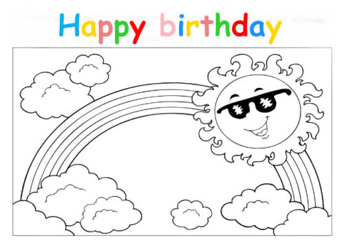 Colouring in card with sun and rainbow