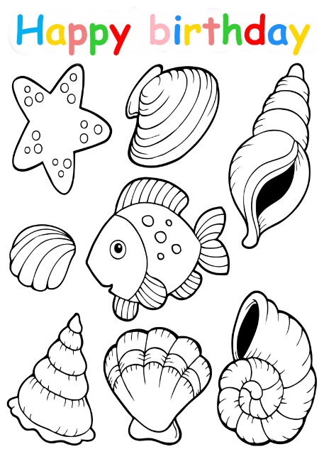 Colouring in card with fish and shells