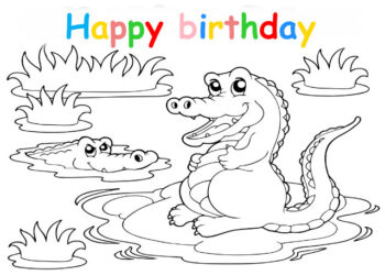 Colouring in card with crocodiles