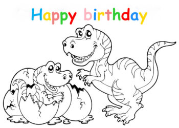 Colouring in card with dinosaurs