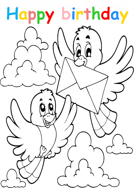 Colouring in card with birds