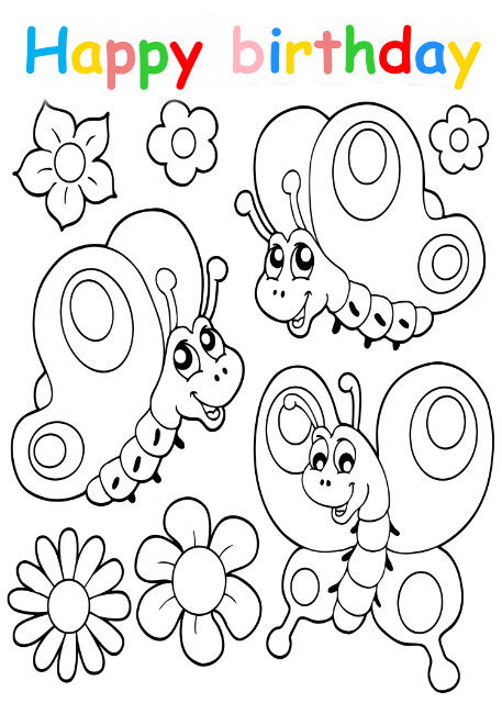 Colouring in card with happy butterflies