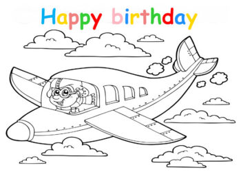 Colouring in card with plane