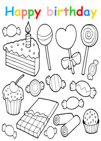 Colouring in card with cake and sweets