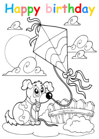 Colouring in card with dog and kite