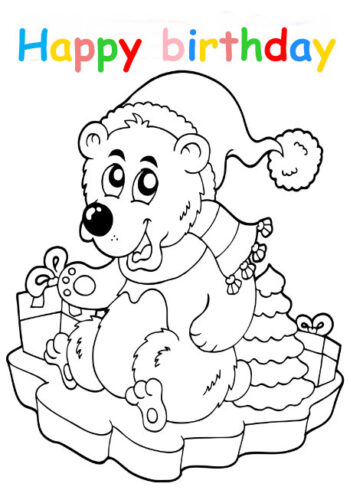 Colouring in card with polar bear on ice