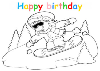 Colouring in card with boy snowboarding