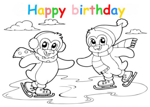 Colouring in card with penguins iceskating
