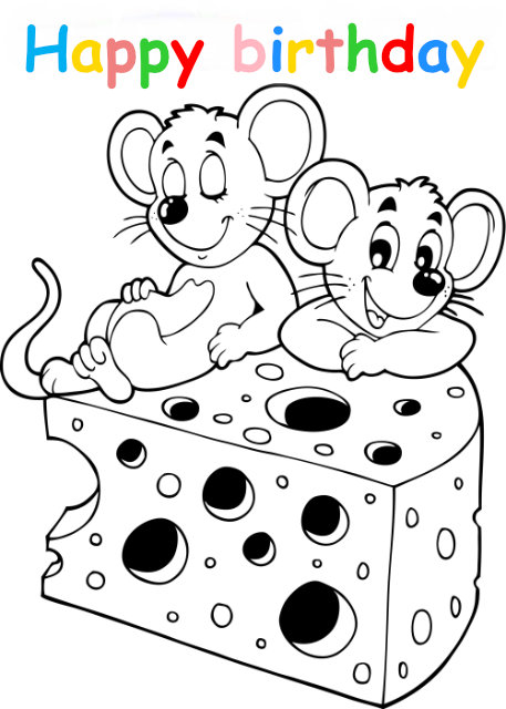Colouring in card with mice and cheese