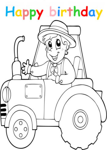 Colouring in card with boy driving tractor