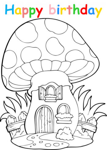 Colouring in card with mushroom house