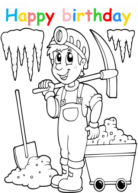 Colouring in card with boy miner
