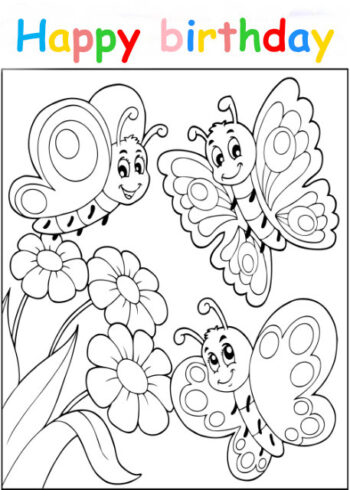 Colouring in card with butterflies