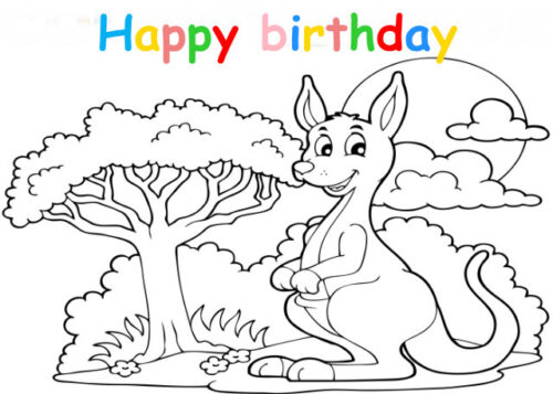 Colouring in card with kangaroo