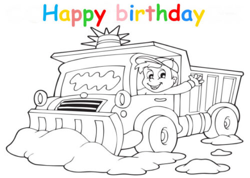 Colouring in card with boy driving snow plow