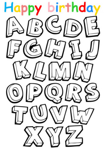 Colouring in card with alphabet letters