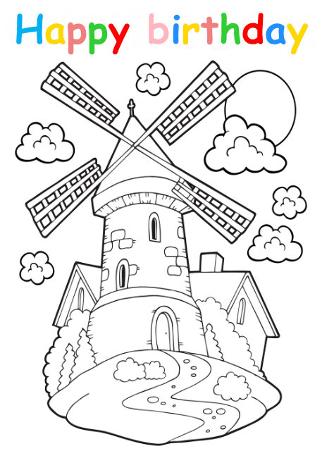Colouring in card with windmill