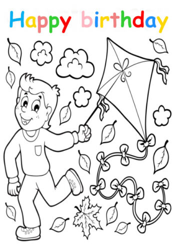 Colouring in card with boy holding kite