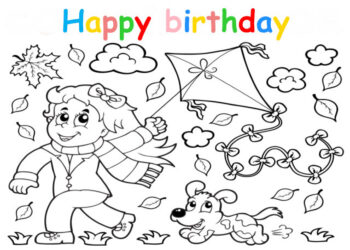 Colouring in card with girl holding kite