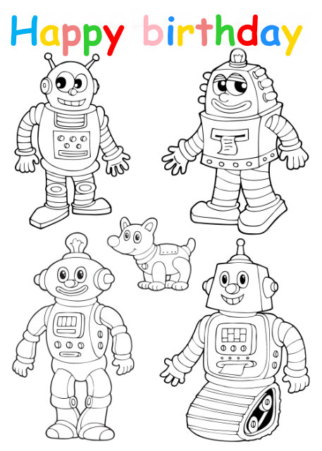 Colouring in card with robots
