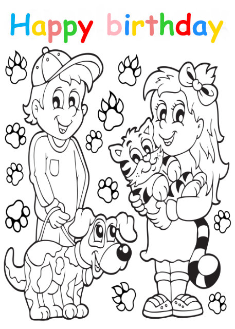 Colouring in card with boy and dog and girl with cat