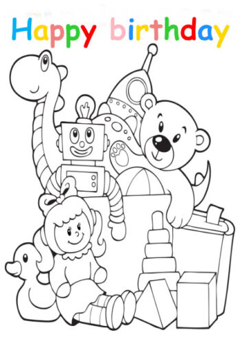 Colouring in card with toys
