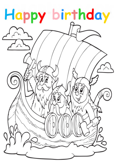 Colouring in card with vikings in boat
