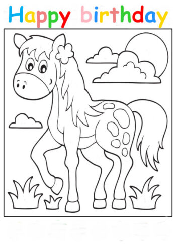 Colouring in card with horse