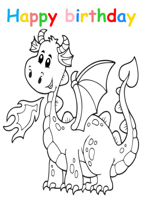 Colouring in card with dragon