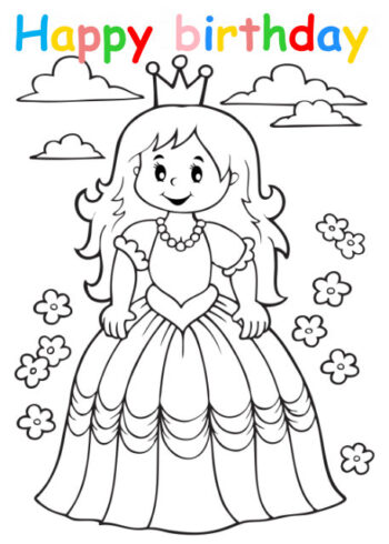 Colouring in card with princess