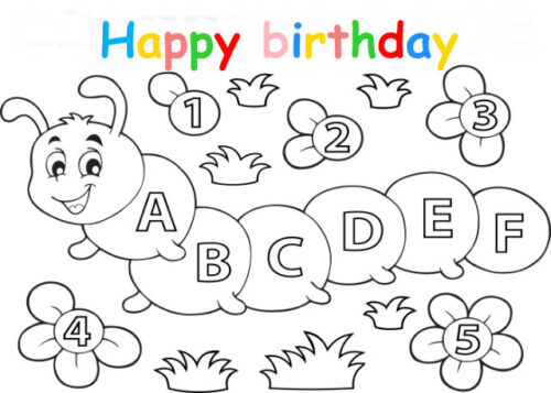 Colouring in card with alphabet caterpillar and numbers