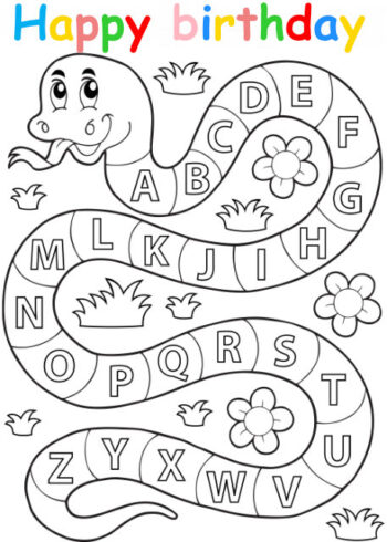 Colouring in card with alphabet snake
